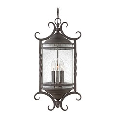 Traditional Seeded Glass Black Outdoor Hanging Light by Hinkley Lighting