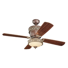 Ceiling Fan with Light with White Glass in Tuscan Bronze / Tea Stain Mission Finish