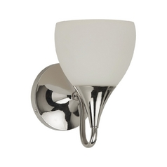 Sea Gull Lighting Modern Sconce Wall Light with White Glass in Polished Nickel Finish 44971-841