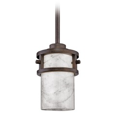 Mini-Pendant Light with White Onyx Cylinder Shade