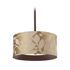 Elk Lighting Drum Pendant Light with Beige / Cream Shade in Dark Walnut Finish 14150/3
