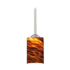 Design Classics Lighting Modern Mini-Pendant Light with Brown Art Glass 581-09 GL1023C
