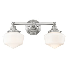 Schoolhouse Bathroom Light Satin Nickel White Opal Glass 2 Light 17 Inch Length
