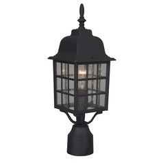 Seeded Glass Post Light Black Craftmade Lighting