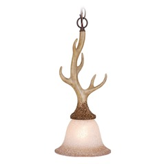 Lodge Noachian Stone Mini-Pendant Light with Bell Shade by Vaxcel Lighting