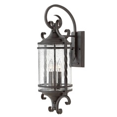 Traditional Seeded Glass Black Outdoor Wall Light 3 Lt by Hinkley Lighting