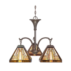 Chandelier with Art Glass in Vintage Bronze Finish