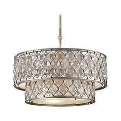 Drum Pendant Lights in Burnished Silver Finish