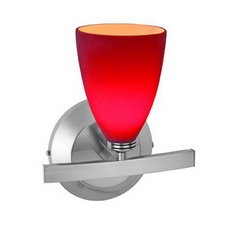 Modern Sconce Light with Red Glass in Matte Chrome Finish