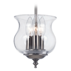Semi-Flushmount Light with Clear Glass in Pewter Finish