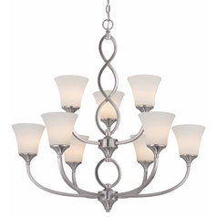 Contemporary Chandelier in Satin Nickel Finish with Nine Lights
