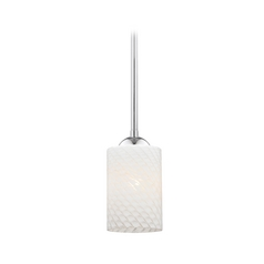 Chrome Mini-Pendant Light with White Art Glass Shade