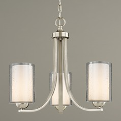 Seeded Glass Mini Chandelier 3-Lt Satin Nickel