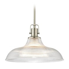 Industrial Prismatic Pendant Light Satin Nickel 15.38-Inch Wide