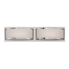 Modern LED Bathroom Light with White Glass in Polished Nickel Finish