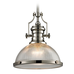 Pendant Light with Clear Glass in Polished Nickel Finish