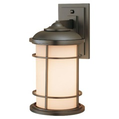 Outdoor Wall Light with White Glass in Burnished Bronze Finish
