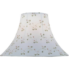 White Jacquard Bell Lamp Shade with Spider Assembly