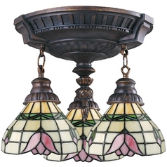 Semi-Flushmount Light with Tiffany Glass in Aged Walnut Finish