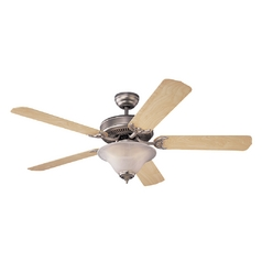 Ceiling Fan with Light with White Glass in Brushed Pewter Finish