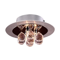 Modern Flushmount Light with Clear Glass in Aluminum / Polished Chrome Finish