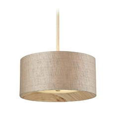 Elk Lighting Drum Pendant Light with Grey Shade in Washed Pine Finish 14160/3
