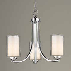 Seeded Glass Mini Chandelier 3-Lt Chrome