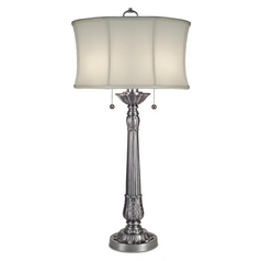 Stiffel Table Lamp with White Shade in Pewter Finish