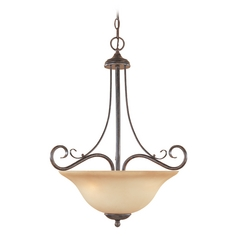 Pendant Light with Amber Glass in Warm Mahogany Finish