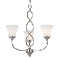 Contemporary Chandelier in Satin Nickel Finish with Three Lights
