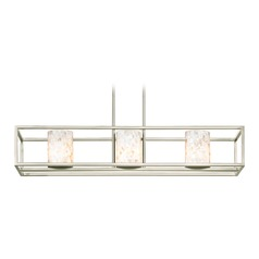 3-Light Mosaic Glass Linear Chandelier in Satin Nickel