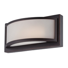 Modern LED Sconce Wall Light with White Glass in Georgetown Bronze Finish
