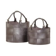 Nested Gunmetal Leather Buckets-Set of 2