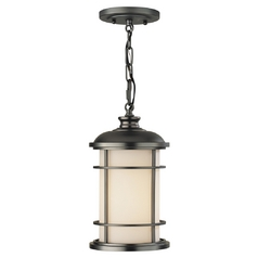 Outdoor Hanging Light with White Glass in Burnished Bronze Finish