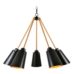 Mid-Century Modern Chandelier Black with Brass inside Alvar by Kenroy Home Lighting