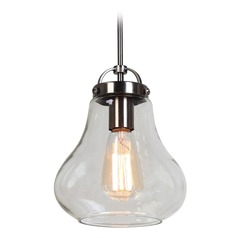 Access Lighting Flux Antique Nickel LED Mini-Pendant Light with Bowl / Dome Shade