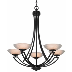 Dolan Designs Lighting Bronze Chandelier with Five Lights and Seeded Glass Shades 1900-46