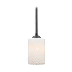 Design Classics Lighting Black Mini-Pendant Light with Cylinder Art Glass Shade 581-07  GL1020C