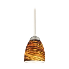 Design Classics Lighting Modern Mini-Pendant Light with Brown Art Glass 581-09 GL1023MB