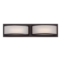 Modern LED Bathroom Light with White Glass in Georgetown Bronze Finish