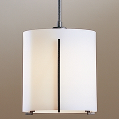Hubbardton Forge Lighting Exos Natural Iron Mini-Pendant Light with Cylindrical Shade