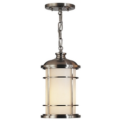 Outdoor Hanging Light with White Glass in Brushed Steel Finish