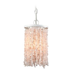 Elk Lighting Agate Stones Off White Mini-Pendant Light with Cylindrical Shade