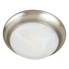 Flushmount Light with White Glass in Satin Nickel Finish