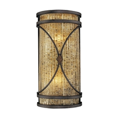 Sconce Wall Light with Brown Glass in Monte Titano Oro Finish