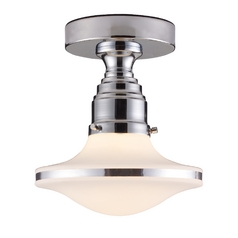 Modern Semi-Flushmount Light with White Glass in Polished Chrome Finish