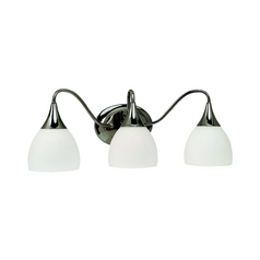 Sea Gull Lighting Modern Bathroom Light with White Glass in Polished Nickel Finish 44973BLE-841