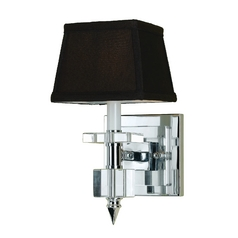 Modern Sconce Wall Light with Brown Shade in Chrome Finish