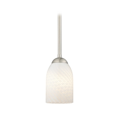 Nickel Mini-Pendant Light with White Art Glass Shade
