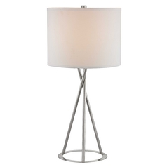 27-Inch Modern Tripod Table Lamp with White Linen Barrel Shade